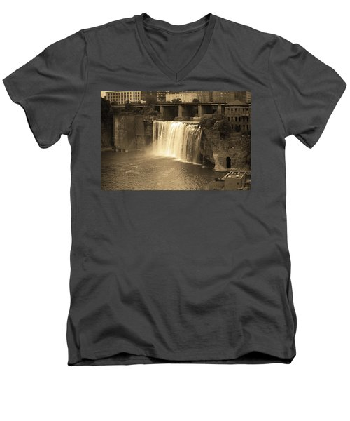 Men's V-Neck T-Shirt featuring the photograph Rochester, New York - High Falls Sepia by Frank Romeo