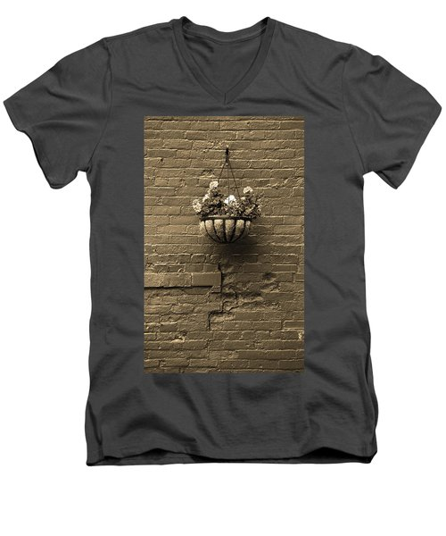 Men's V-Neck T-Shirt featuring the photograph Rochester, New York - Wall And Flowers Sepia by Frank Romeo