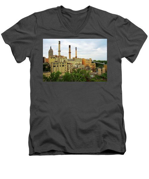 Rochester, Ny - Factory And Smokestacks 2005 Men's V-Neck T-Shirt by Frank Romeo