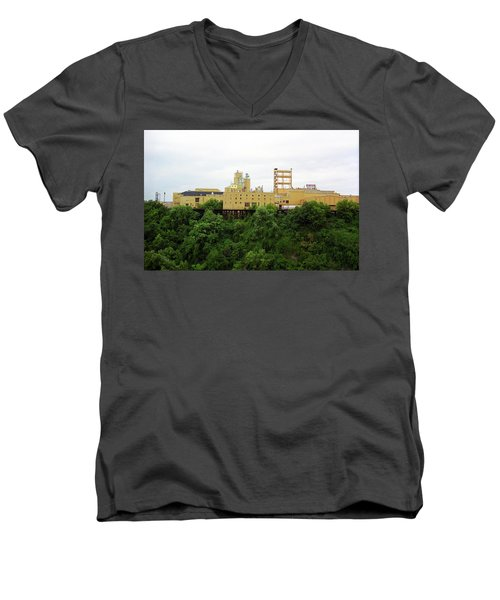 Men's V-Neck T-Shirt featuring the photograph Rochester, Ny - Factory On A Hill by Frank Romeo