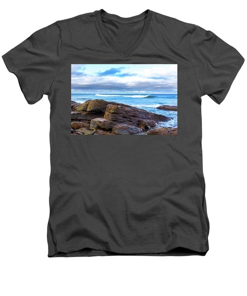 Men's V-Neck T-Shirt featuring the photograph Rock And Wave by Perry Webster