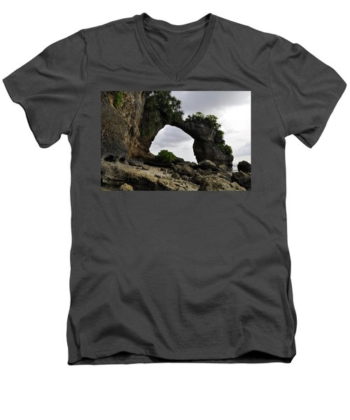 Men's V-Neck T-Shirt featuring the photograph Rock Bridge At Neil Island by Bliss Of Art