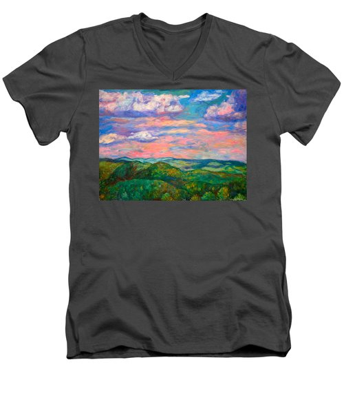 Men's V-Neck T-Shirt featuring the painting Rock Castle Gorge by Kendall Kessler