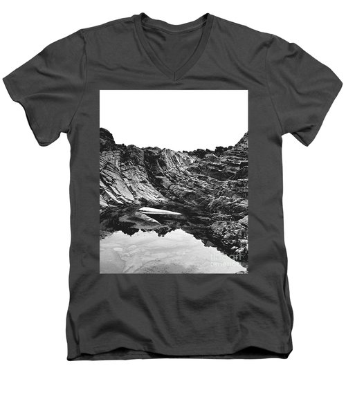 Men's V-Neck T-Shirt featuring the photograph Rock - Detail by Rebecca Harman