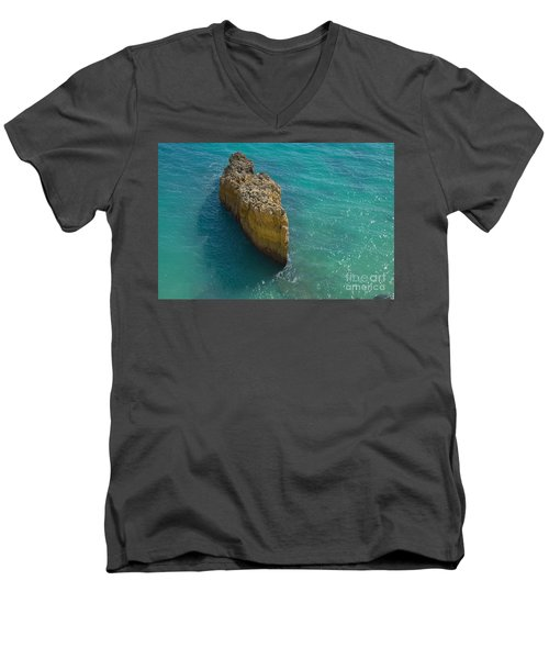 Rock Formation And The Sea In Algarve Men's V-Neck T-Shirt by Angelo DeVal
