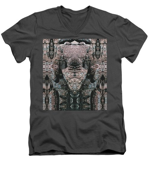 Men's V-Neck T-Shirt featuring the digital art Rock Gods Elephant Stonemen Of Ogunquit by Nancy Griswold