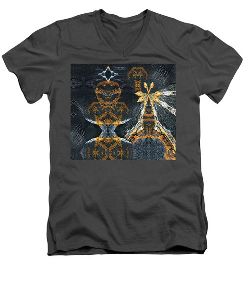 Men's V-Neck T-Shirt featuring the digital art Rock Gods Lichen Lady And Lords by Nancy Griswold