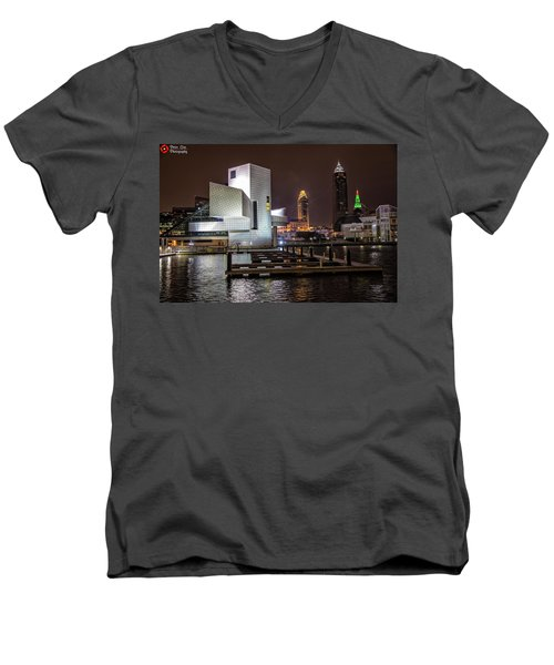 Men's V-Neck T-Shirt featuring the photograph Rock Hall Of Fame And Cleveland Skyline by Peter Ciro