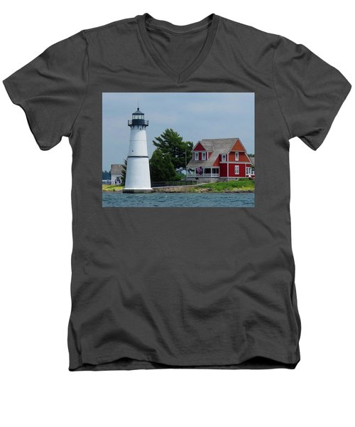Rock Island Lighthouse July Men's V-Neck T-Shirt