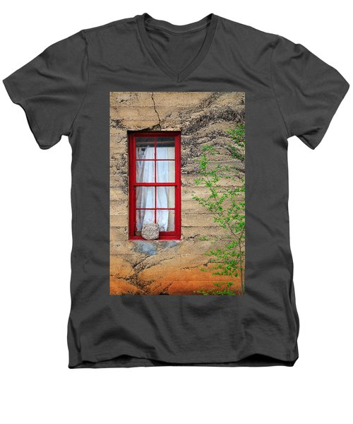 Men's V-Neck T-Shirt featuring the photograph Rock On A Red Window by James Eddy