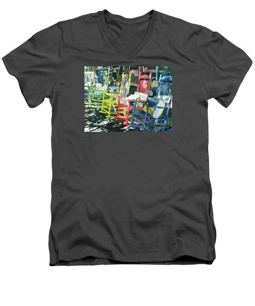 Men's V-Neck T-Shirt featuring the painting Rock On by LeAnne Sowa