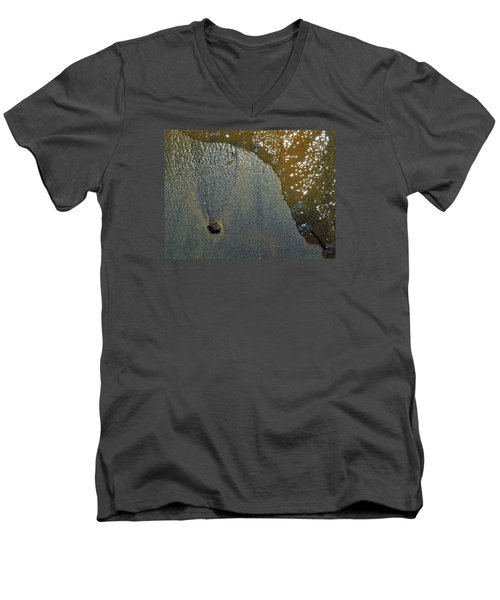 Men's V-Neck T-Shirt featuring the photograph Rock Sand Water Sun 2  by Lyle Crump