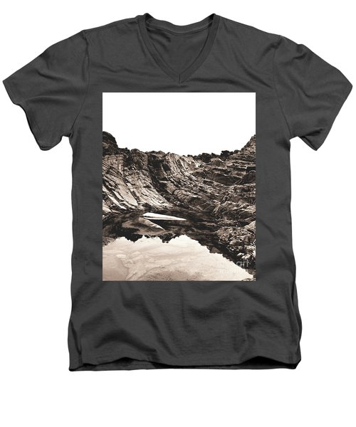 Men's V-Neck T-Shirt featuring the photograph Rock - Sepia Detail by Rebecca Harman