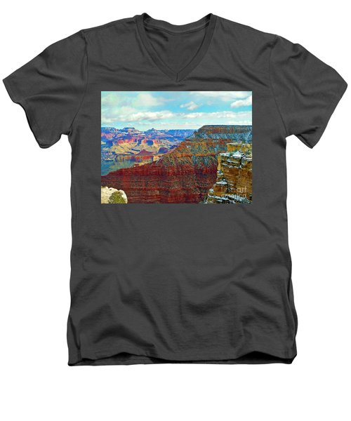 Men's V-Neck T-Shirt featuring the photograph Rock Solid by Roberta Byram