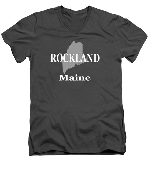 Men's V-Neck T-Shirt featuring the photograph Rockalnd Maine State City And Town Pride  by Keith Webber Jr