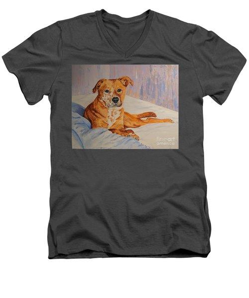 Rockaroni Men's V-Neck T-Shirt by Lisa Rose Musselwhite