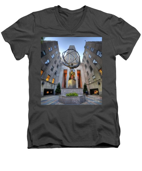 Rockefeller Centre Atlas - Nyc - Vertorama Men's V-Neck T-Shirt by Yhun Suarez