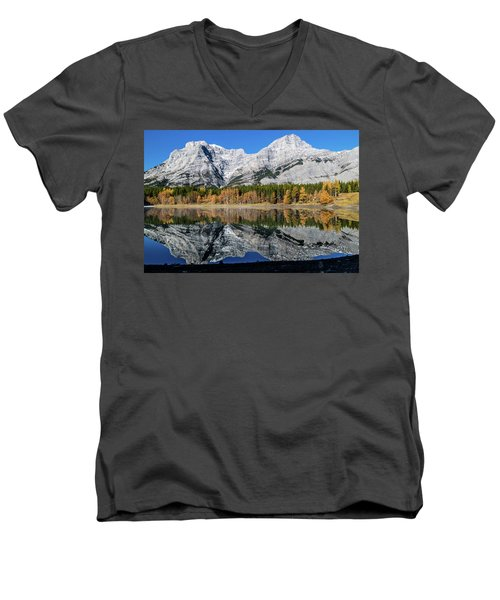 Rockies From Wedge Pond Under Late Fall Colours, Spray Valley Pr Men's V-Neck T-Shirt