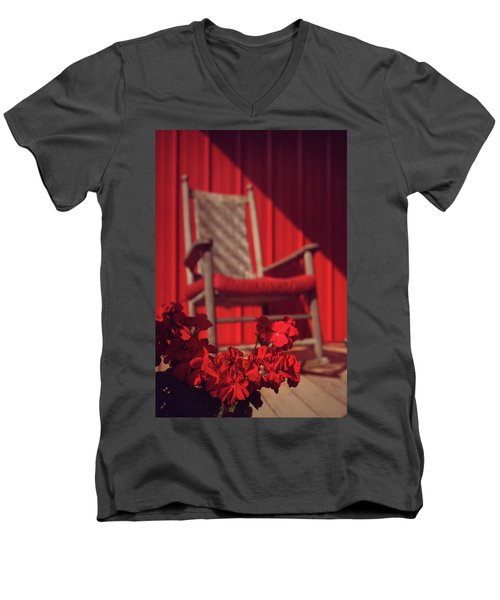 Men's V-Neck T-Shirt featuring the photograph Rockin' Red by Jessica Brawley