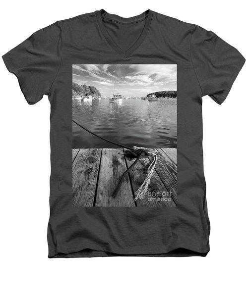 Rockport Harbor, Maine #80458-bw Men's V-Neck T-Shirt