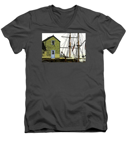 Men's V-Neck T-Shirt featuring the photograph Rockport Harbor by Tom Cameron