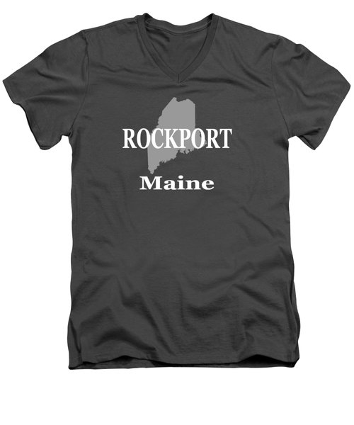 Men's V-Neck T-Shirt featuring the photograph Rockport Maine State City And Town Pride  by Keith Webber Jr