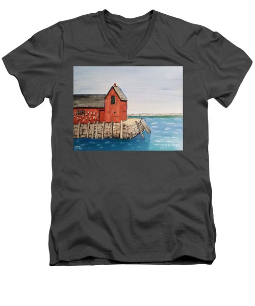 Rockport Motif In Winter Men's V-Neck T-Shirt