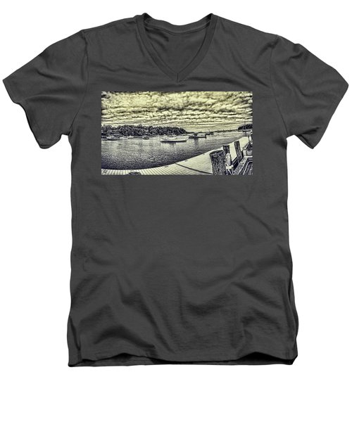 Men's V-Neck T-Shirt featuring the digital art Rockport Outer- Harbor by Daniel Hebard