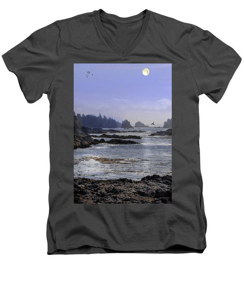 Rocks And Moon And Water Men's V-Neck T-Shirt
