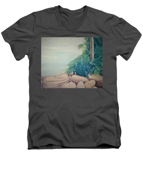Rocks And Palm Tree Men's V-Neck T-Shirt