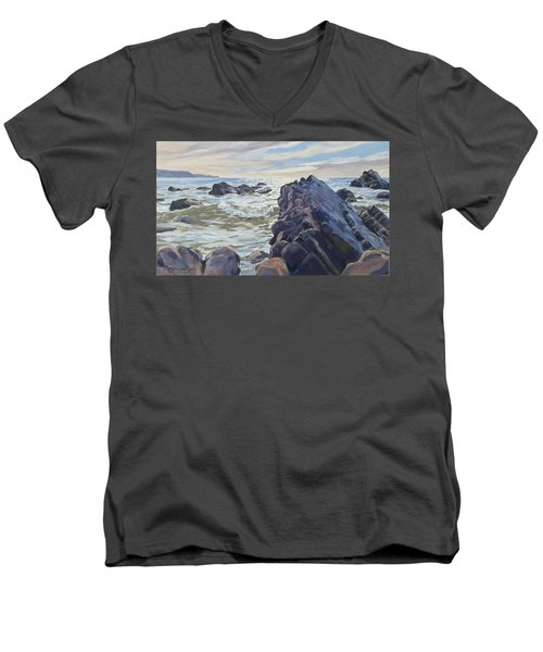 Men's V-Neck T-Shirt featuring the painting Rocks At Widemouth Bay, Cornwall by Lawrence Dyer