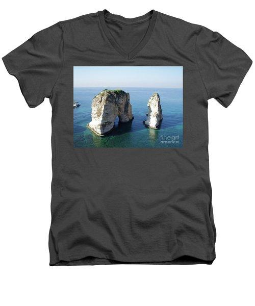 Rocks In Sea Men's V-Neck T-Shirt