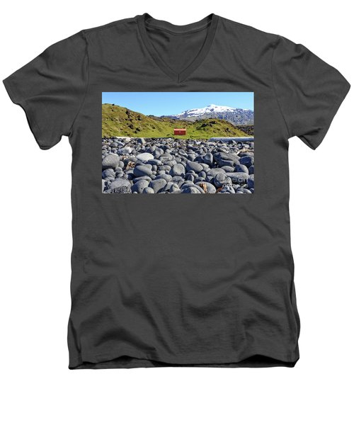 Men's V-Neck T-Shirt featuring the photograph Rocky Beach Iceland by Edward Fielding