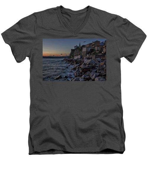 Men's V-Neck T-Shirt featuring the photograph Rocky Coast At Dawn - Piran - Slovenia by Stuart Litoff