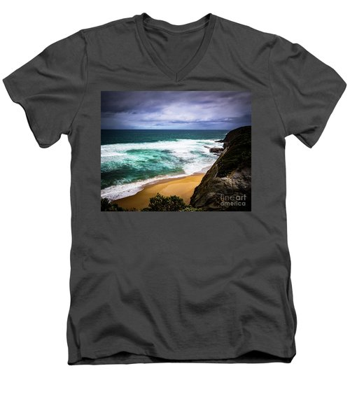 Men's V-Neck T-Shirt featuring the photograph Rocky Coast by Perry Webster