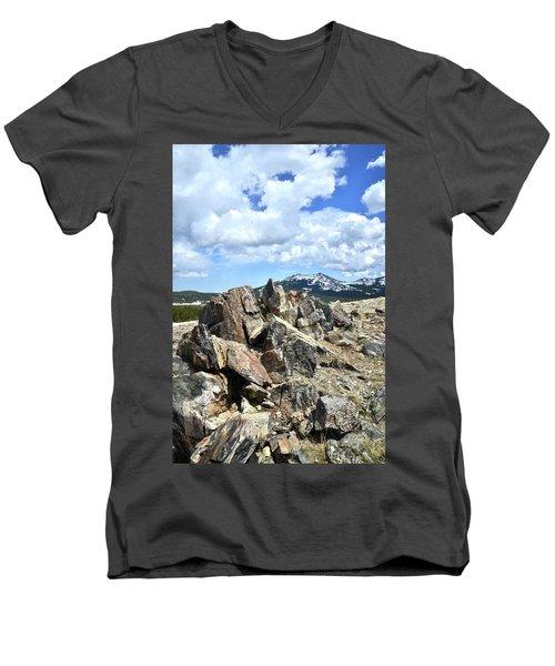 Rocky Crest At Big Horn Pass Men's V-Neck T-Shirt