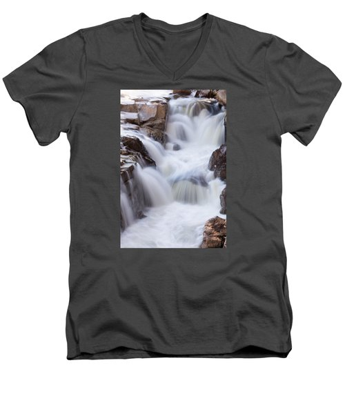 Rocky Gorge Falls Men's V-Neck T-Shirt by Michael Hubley