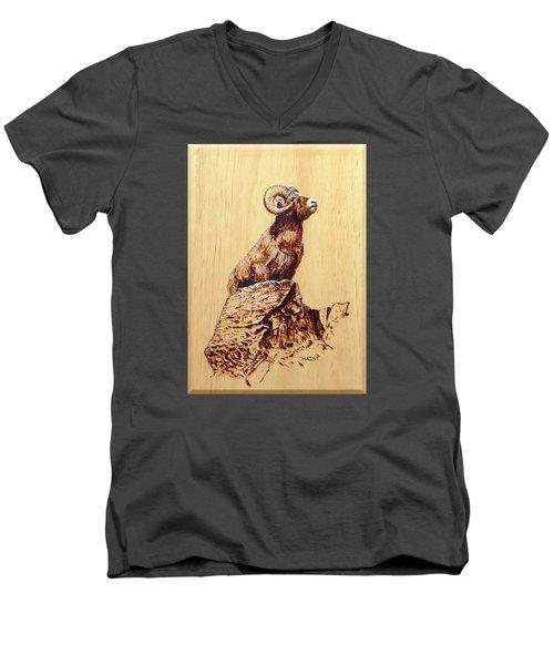 Rocky Mountain Bighorn Sheep Men's V-Neck T-Shirt by Ron Haist