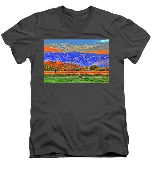 Men's V-Neck T-Shirt featuring the photograph Rocky Mountain Deer by Scott Mahon