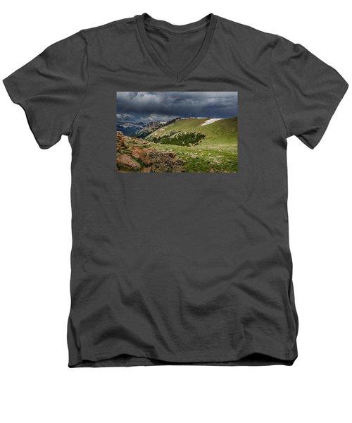 Rocky Mountain Strorm Men's V-Neck T-Shirt by Mary Angelini