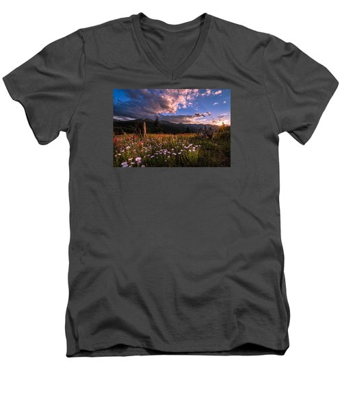 Rocky Mountain Summer Sunset Men's V-Neck T-Shirt