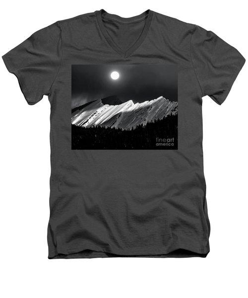 Rocky Mountains In Moonlight Men's V-Neck T-Shirt by Elaine Hunter