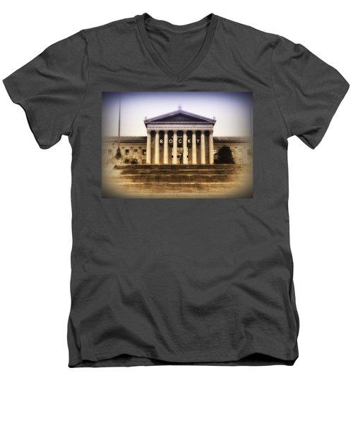 Rocky On The Art Museum Steps Men's V-Neck T-Shirt