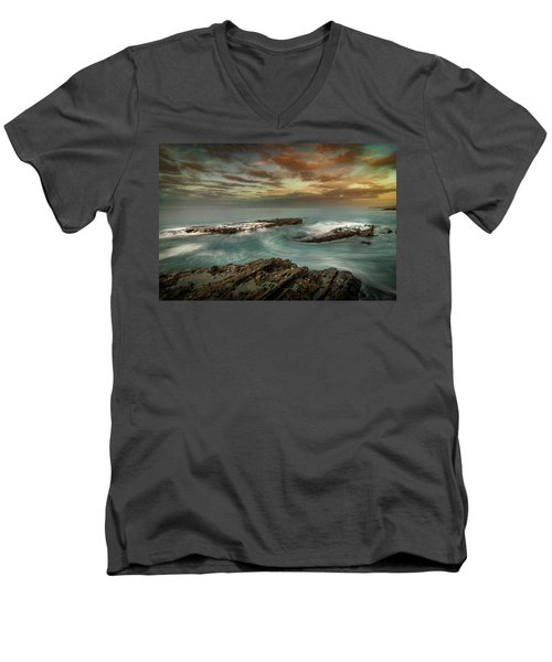 Rocky Shores At Victoria Beach Men's V-Neck T-Shirt