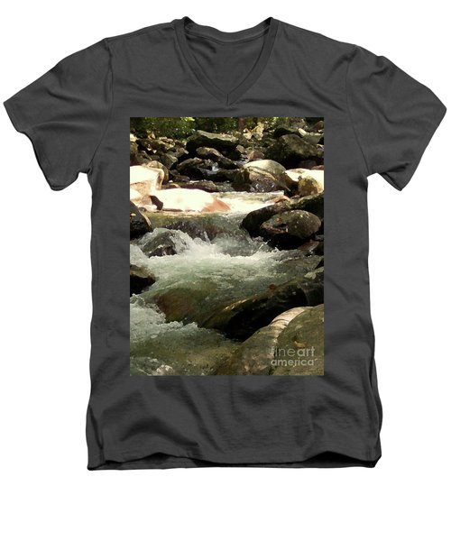 Men's V-Neck T-Shirt featuring the mixed media Rocky Stream 4 by Desiree Paquette
