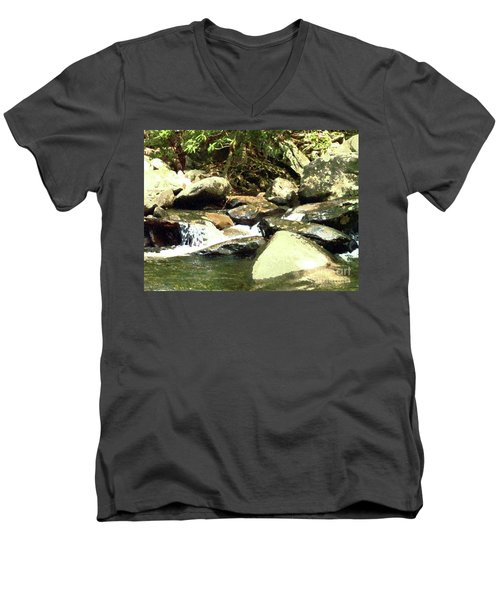 Men's V-Neck T-Shirt featuring the mixed media Rocky Stream 5 by Desiree Paquette
