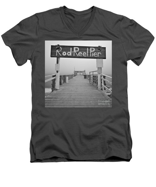 Rod And Reel Pier In Fog In Infrared 53 Men's V-Neck T-Shirt
