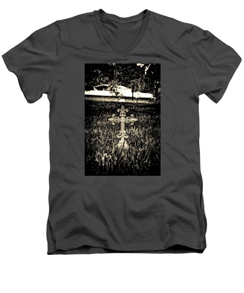 Rod Iron Cross  Men's V-Neck T-Shirt by Michael White