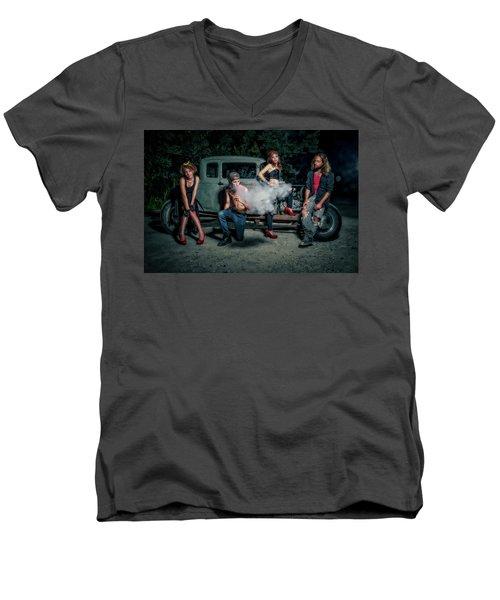 Rodders #3 Men's V-Neck T-Shirt by Jerry Golab