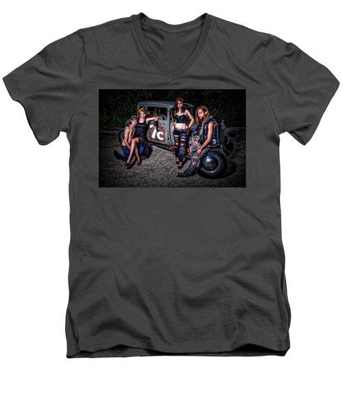 Rodders #4 Men's V-Neck T-Shirt by Jerry Golab